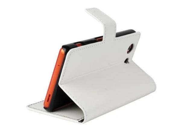 Чехол-книжка для sony xperia z3 compact d5803 с визитницей и мультиподставкой белый кожаный