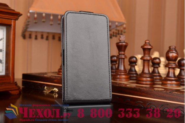 """Вертикальный откидной чехол-флип для sony xperia z4 compact черный кожаный """"prestige"""" италия"""