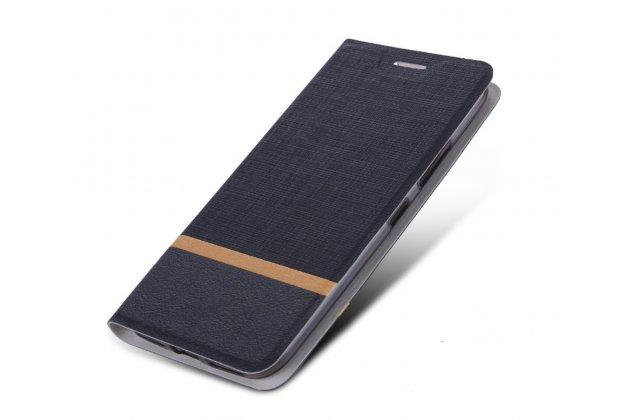 Чехол-книжка из водоооталкивающего материала с мульти-подставкой и визитницей для sony xperia z4/z3+ черный с оранжевой полосой