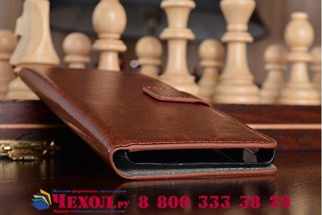 Чехол-книжка из качественной импортной кожи с мульти-подставкой застёжкой и визитницей для sony xperia z4/z3+ (сони иксперия з4/з3 плюс) коричневый