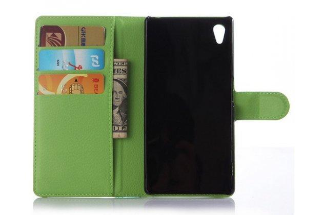 """Чехол-книжка из качественной импортной кожи с мульти-подставкой застёжкой и визитницей для sony xperia z5 / z5 dual sim e6603/e6633 5.2"""" зеленый"""