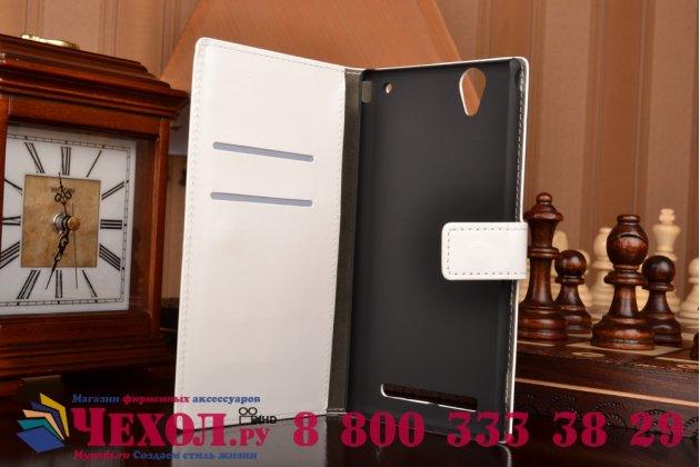 Чехол-книжка из качественной импортной кожи с подставкой застёжкой и визитницей для sony xperia t2 ultra/ t2 ultra dual d5303/d5322 белый