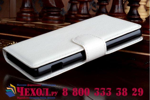 Чехол-книжка из качественной импортной кожи с подставкой застёжкой и визитницей для sony xperia z4 compact белый