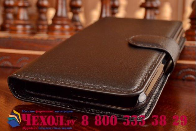 Чехол-книжка из качественной импортной кожи с подставкой застёжкой и визитницей для sony xperia e4/ e4 dual e2105/e2115 черный
