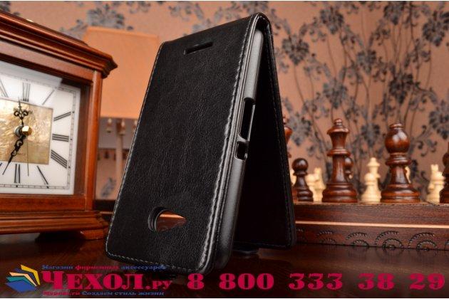 """Вертикальный откидной чехол-флип для  sony xperia e4g/ e4g dual e2003/e2033 черный из натуральной кожи """"prestige"""" италия"""