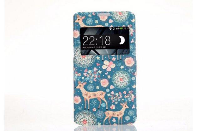Чехол-книжка с безумно красивым расписным рисунком оленя в цветах на sony xperia e4g/ e4g dual e2003/e2033 с окошком для звонков