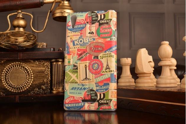 Чехол-книжка с безумно красивым расписным рисунком марок на sony xperia t3 d5102/d5103 с окошком для звонков