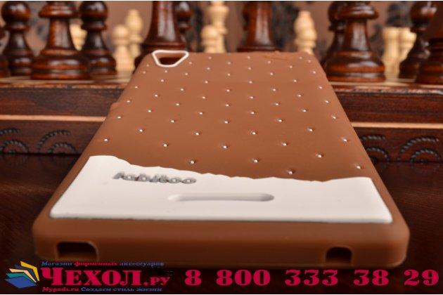 """Необычная уникальная полимерная мягкая задняя панель-чехол-накладка для sony xperia t3 d5102/d5103 """"тематика андроид в тёмном шоколаде"""""""
