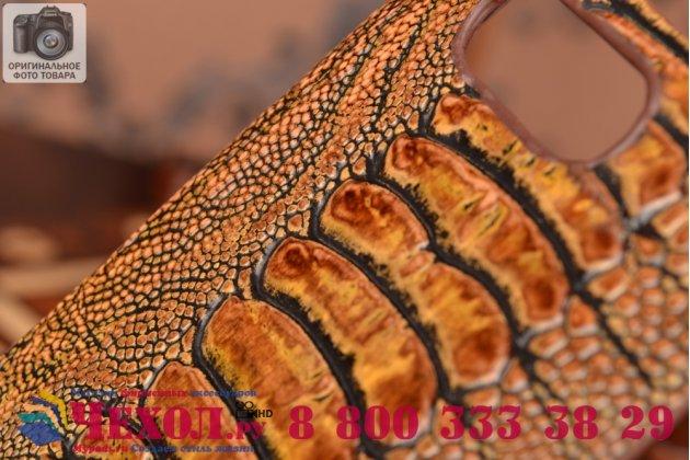 Элегантная экзотическая задняя панель-крышка с фактурной отделкой натуральной кожи крокодила кофейного цвета для sony xperia z3 compact d5803. только в нашем магазине. количество ограничено.