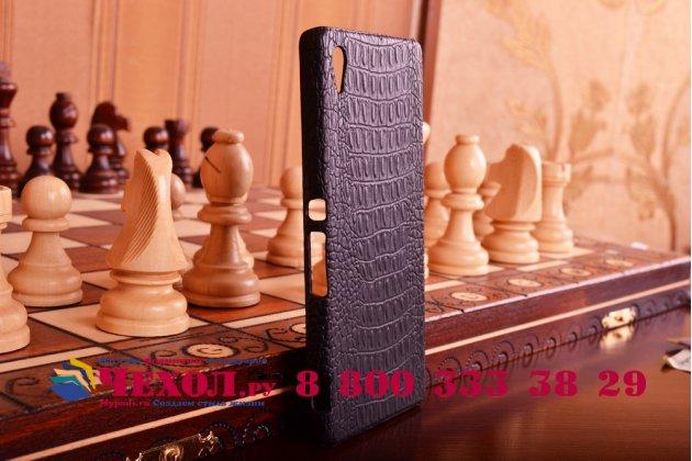 Элитная задняя панель-крышка премиум-класса из тончайшего и прочного пластика обтянутого кожей крокодила для sony xperia z4 /z3+ брутальный черный
