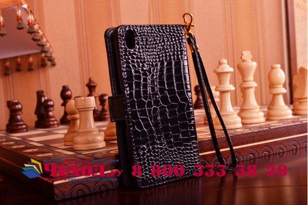 Чехол-книжка с мульти-подставкой и визитницей для sony xperia z4 /z3+ лаковая кожа крокодила брутальный черный