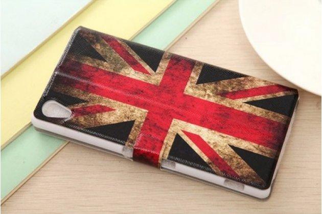 """Чехол-книжка с рисунком на тему """"ретро британский флаг"""" на sony xperia z4 /z3+ с окошком для звонков"""