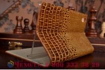 Роскошный эксклюзивный чехол с объёмным 3d изображением кожи крокодила коричневый для sony xperia z4 /z3+ /z3+ dual . только в нашем магазине. количество ограничено