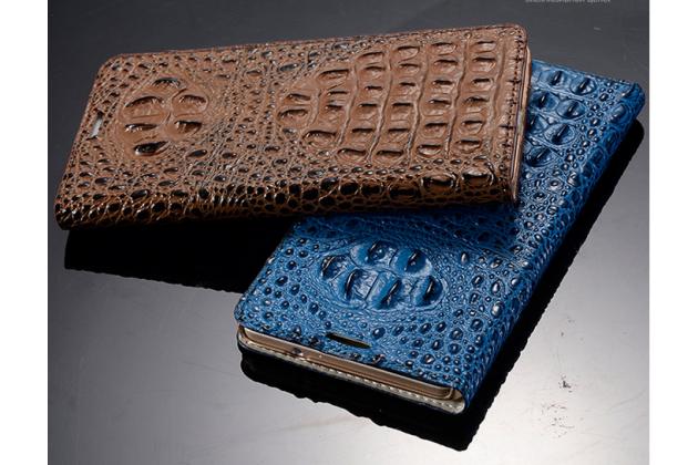 Роскошный эксклюзивный чехол с объёмным 3d изображением рельефа кожи крокодила синий для sony xperia z4 /z3+ /z3+ dual. только в нашем магазине. количество ограничено