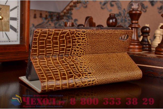 """Роскошный эксклюзивный чехол с объёмным 3d изображением кожи крокодила коричневый для sony xperia z5 / z5 dual sim e6603/e6633 5.2"""" . только в нашем магазине. количество ограничено"""
