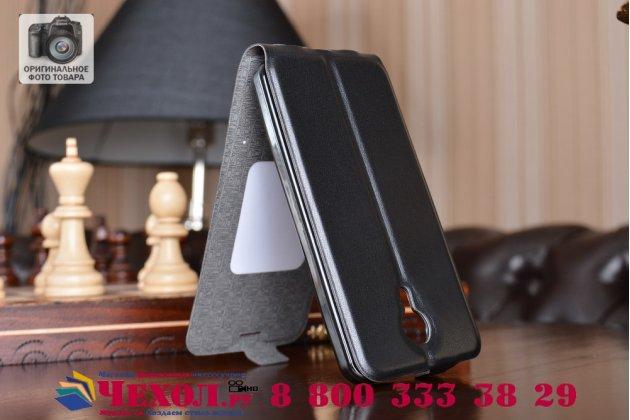 Вертикальный откидной чехол-флип для wileyfox swift черный из натуральной кожи prestige италия