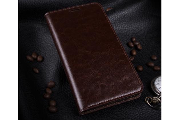 Чехол-книжка из качественной импортной кожи с подставкой застёжкой и визитницей для xiaomi mi 4s коричневый