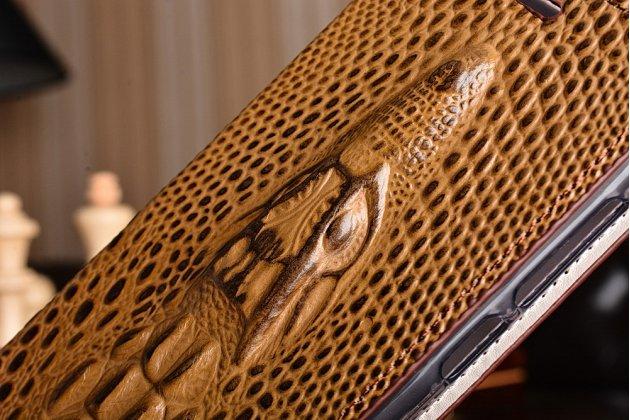 Роскошный эксклюзивный чехол с объёмным 3d изображением кожи крокодила коричневый для xiaomi mi 4s. только в нашем магазине. количество ограничено