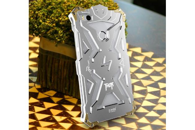 Противоударный металлический чехол-бампер из цельного куска металла с усиленной защитой углов и необычным экстремальным дизайном для xiaomi mi 4s серебряного  цвета