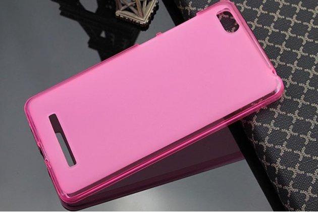 Ультра-тонкая полимерная из мягкого качественного силикона задняя панель-чехол-накладка для xiaomi mi 4c/4i розовая