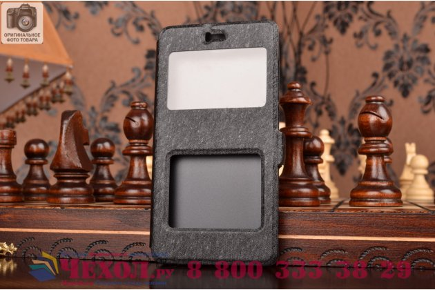 Чехол-книжка для xiaomi mi 4c черный с окошком для входящих вызовов и свайпом водоотталкивающий
