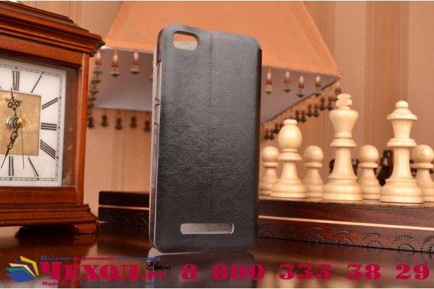 Чехол-книжка  для xiaomi mi 4c из качественной водоотталкивающей импортной кожи на жёсткой металлической основе черного цвета