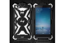 Противоударный металлический чехол-бампер из цельного куска металла с усиленной защитой углов и необычным экстремальным дизайном  для xiaomi mi 4i/4c черного цвета