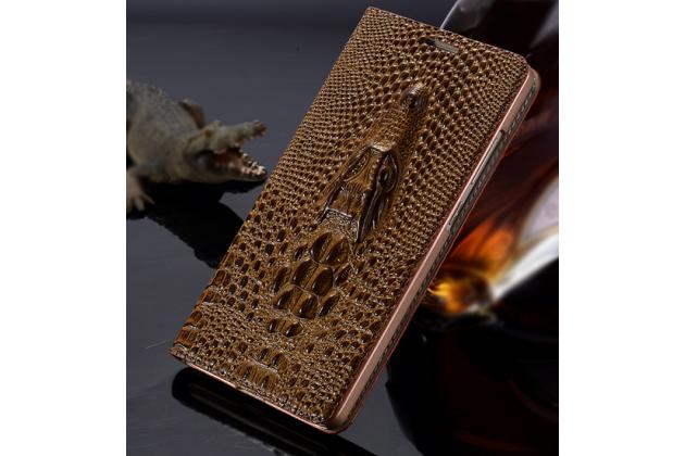 Роскошный эксклюзивный чехол с объёмным 3d изображением кожи крокодила коричневый для xiaomi mi 4c . только в нашем магазине. количество ограничено