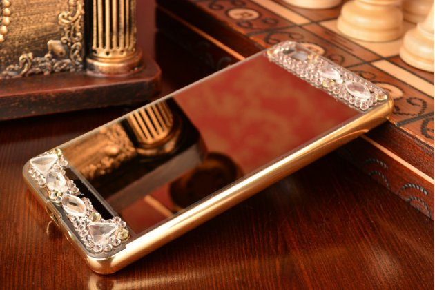 Металлическая задняя панель-крышка-накладка из облегченного авиационного алюминия украшенная стразами и кристалликами  для xiaomi mi 4i/4с золотая