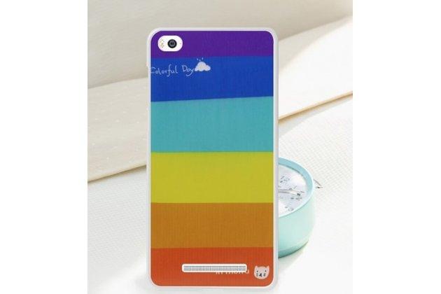 """Необычная ультра-тонкая полимерная из мягкого качественного силикона задняя панель-чехол-накладка для xiaomi mi 4c """"тематика все цвета радуги"""""""