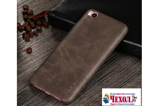 """Премиальная элитная крышка-накладка из тончайшего прочного пластика и качественной импортной кожи для xiaomi mi5s 5.15""""  ретро под старину коричневая"""