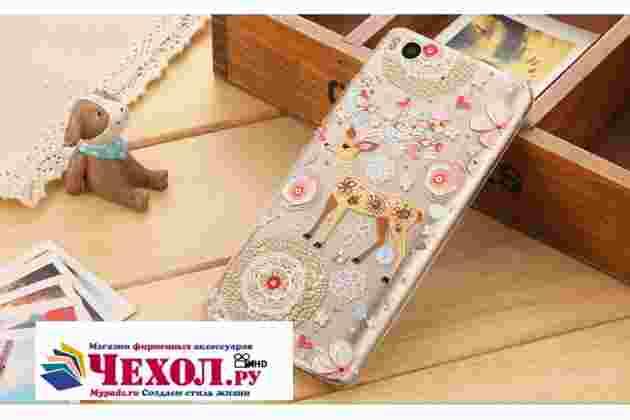 """Задняя панель-чехол-накладка из прозрачного 3d силикона с объёмным рисунком для xiaomi mi5s 5.15"""" тематика """"оленя в цветах"""" которая огибает логотип чтобы была видна марка телефона"""