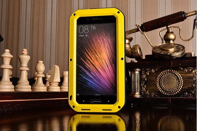 """Неубиваемый водостойкий противоударный водонепроницаемый грязестойкий влагозащитный ударопрочный чехол-бампер для xiaomi mi5 5.0"""" цельно-металлический со стеклом gorilla glass желтый"""