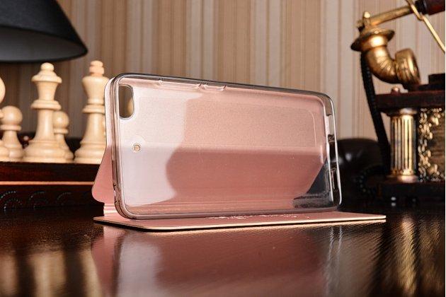 """Чехол-книжка водоотталкивающий с мульти-подставкой на жёсткой металлической основе для xiaomi mi5s 5.15"""" розовое золото"""