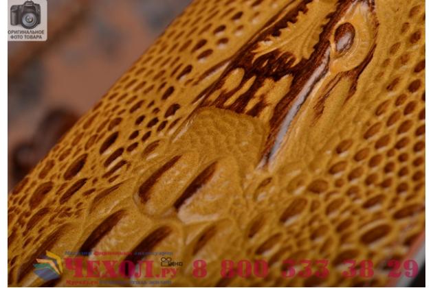 Роскошный эксклюзивный чехол с объёмным 3d изображением кожи крокодила коричневый для xiaomi mi edge . только в нашем магазине. количество ограничено