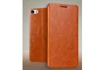 Чехол-книжка из качественной водоотталкивающей импортной кожи на жёсткой металлической основе для xiaomi mi note/mi note pro коричневый