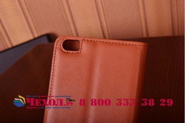 Чехол-книжка из качественной импортной кожи с мульти-подставкой застёжкой и визитницей для xiaomi mi note коричневый