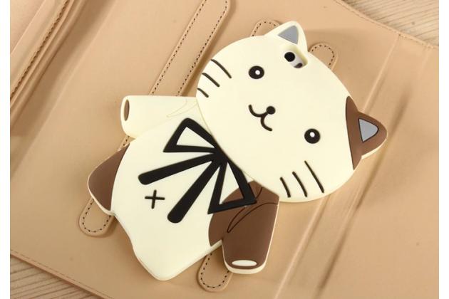 """Задняя панель-чехол-накладка с объёмным 3d изображением для xiaomi mi note/mi note pro  """"тематика кот джентельмен"""" бежевая"""