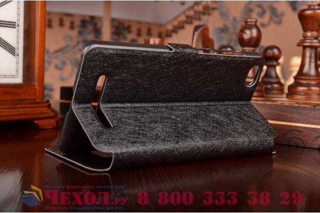 Чехол-книжка для xiaomi mi 4i черный с окошком для входящих вызовов и свайпом водоотталкивающий