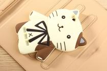 """Задняя панель-чехол-накладка с объёмным 3d изображением для xiaomi mi 4i  """"тематика кот джентельмен"""" бежевая"""
