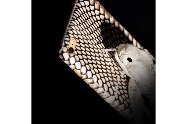 Роскошная экзотическая задняя панель-крышка с фактурной отделкой натуральной кожи с объёмным 3d изображением змеи белый для xiaomi mi5. только в нашем магазине. количество ограничено
