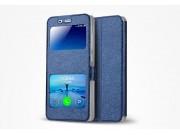 Фирменный чехол-книжка  с окошком для входящих вызовов и свайпом  для Xiaomi Mi5 водоотталкивающий синий..