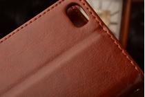 Чехол-книжка для xiaomi mi5 с визитницей и мультиподставкой коричневый кожаный