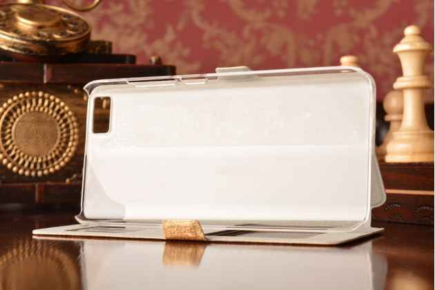 Чехол-книжка  с окошком для входящих вызовов и свайпом  для xiaomi mi5 водоотталкивающий золотой