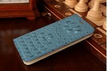 Роскошный эксклюзивный чехол с объёмным 3d изображением рельефа кожи крокодила синий для xiaomi mi5. только в нашем магазине. количество ограничено