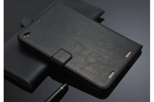 Чехол-книжка из качественной импортной кожи с подставкой застёжкой и визитницей для ксиаоми мипад2 черный