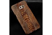 """Элегантная экзотическая задняя панель-крышка с фактурной отделкой натуральной кожи крокодила кофейного цвета для xiaomi redmi note 2 / note 2 prime 5.5"""" . только в нашем магазине. количество ограничено."""