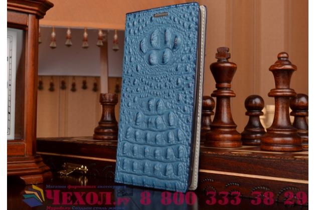 Роскошный эксклюзивный чехол с объёмным 3d изображением рельефа кожи крокодила синий для xiaomi redmi 2 prime. только в нашем магазине. количество ограничено