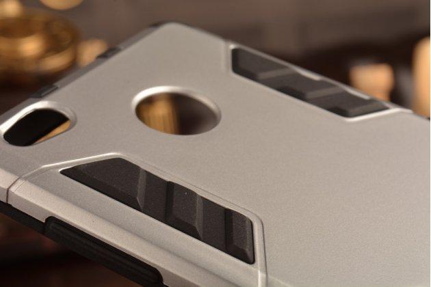 Задняя противоударная панель-крышка-накладка из прочного пластика для xiaomi redmi 3 pro/ 3s 5.0  серебристая
