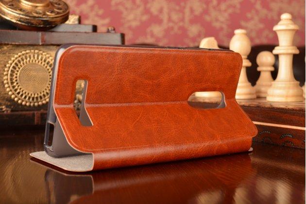 """Чехол-книжка из качественной водоотталкивающей импортной кожи на жёсткой металлической основе для  xiaomi redmi note 3 /xiaomi redmi note 2 pro 5.5"""" коричневый"""